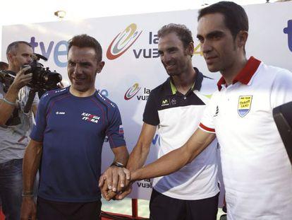 Contador, Purito y Valverde, en la presentación de la Vuelta.