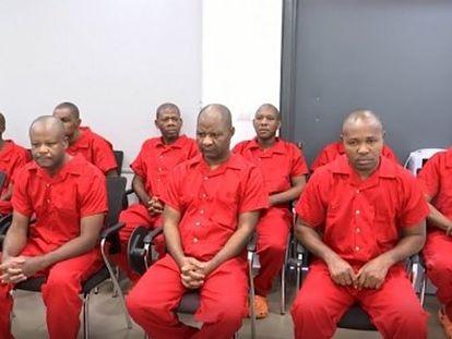 Los acusados de conspirar contra Teodoro Obiang, durante el juicio a puerta cerrada ante un tribunal militar en Guinea Ecuatorial.