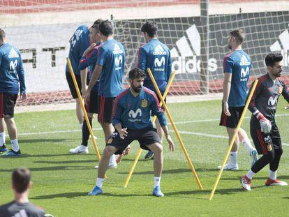 Diego Costa, durante el último entrenamiento con España.