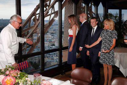 El chef Alain Ducasse recibe a los Trump y los Macron en la Torre Eiffel