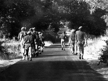 Campamento de Fuerza Joven en 1980 en San Lorenzo de El Escorial (Madrid)