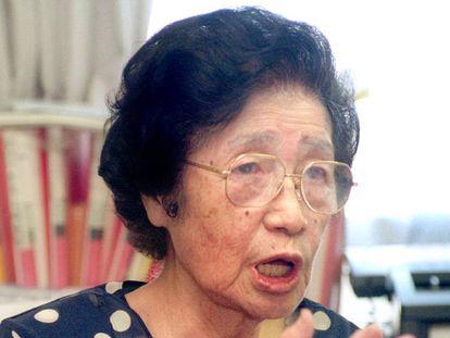 Katsuko Saruhashi durante una entrevista en Japón.