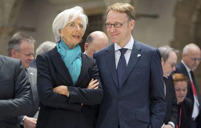 La presidenta del BCE, Christine Lagarde con el presidente del Bundesbank, Jens Weidmann, en 2019.