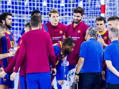 El Barça, en uno de sus últimos entrenamientos.