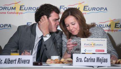 Albert Rivera y Carina Mejías, esta mañana, en un acto en Barcelona.