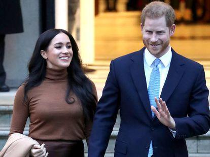 Meghan Markle y Enrique de Inglaterra, en la Casa de Canadá de Londres.