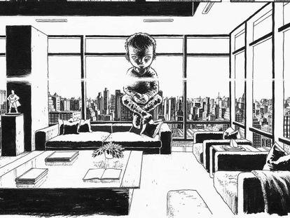 Una página del nuevo cómic 'Dark Knight Returns: The Golden Child', en cuyo diseño participó el dibujante Rafael Grampa.
