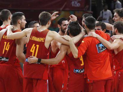 Los jugadores de la Selección celebran el pase a semifinales.