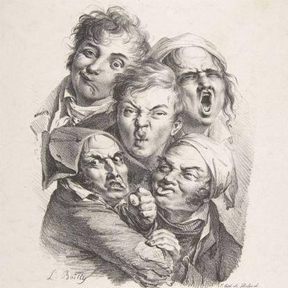 <b>Una de las piezas de la serie</b><i> </i><b>de litografías</b> Les grimaces, del artista Louis Léopold Boilly.
