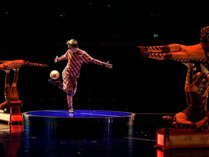 Un grupo de acróbatas del espectáculo Messi by Cirque du Soleil que se estrena mundialmente en el Parc del Fòrum de Barcelona.