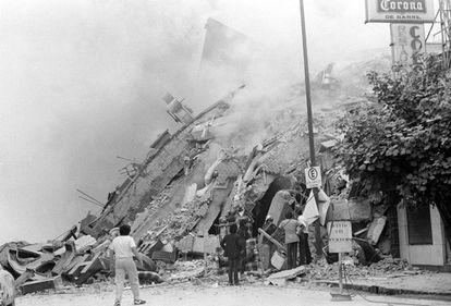 Zona de la colonia Roma afectada por el terremoto de 1985.