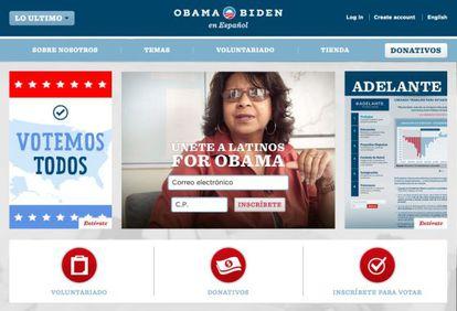 Página de la campaña de Obama dedicada exclusivamente a los votantes hispanos.