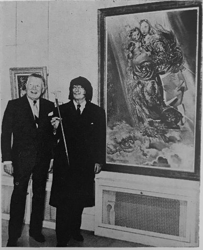 Dalí with his painting 'Cosmic Madonna' in one of the few exhibitions in which it has been seen so far.