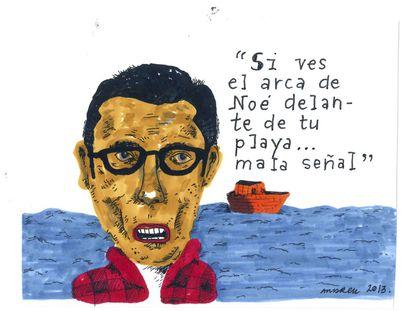 """""""Pensándolo bien, en caso de diluvio universal, no creo que queden playas. Así que no hagan caso de este dibujo""""."""