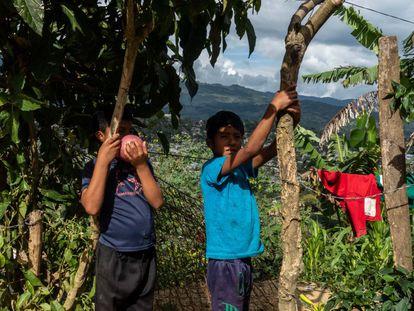 Dos niños en Chilón, Chiapas, que pasaron casi todo el año sin ir a la escuela y ayudando en las tareas del hogar tras los cierres de colegios por la pandemia de coronavirus.