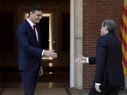 El presidente del Gobierno  español, Pedro Sànchez, y el presidente de la Generalitat, Quim Torrra.