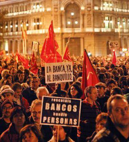 Protesta en Madrid durante la huelga general.