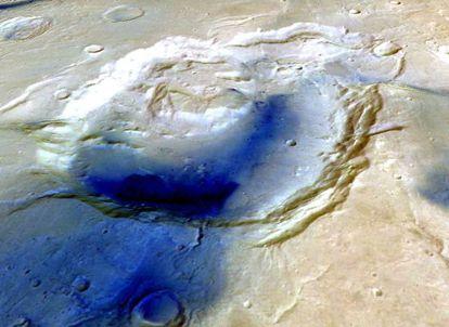 Imagen de datos topográficos de la depresión Eden, en el hemisferio norte de Marte, que pudo ser un supervolcán.