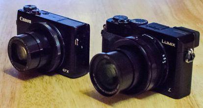 La Canon G7 X (a la izquierda) y la Panasonic Lumix LX-100.