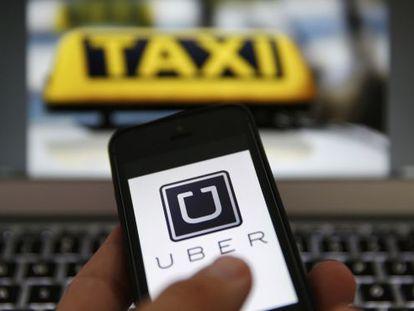 La aplicación Uber, en un teléfono móvil.