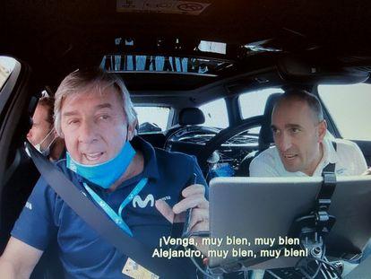 Unzue y Arrieta animan a Valverde durante una etapa del Tour de 2020