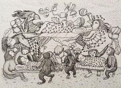 Uno de los cuadros del artista indígena Brus Rubio al carboncillo en el que plasma la tragedia actual de la pandemia y el vínculo entre hombre y naturaleza.