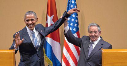 Barack Obama y Raúl Castro, en La Habana en 2016.