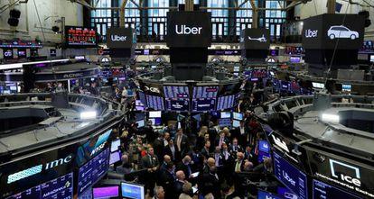 La Bolsa de Nueva York en el estreno de Uber