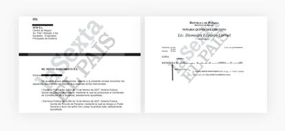 El poder con el nombre de Guardiola y el documento que informaba a la oficina andorrana del envío de la documentación.  EL PAÍS / LA SEXTA / AQUÍ