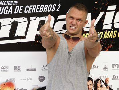 El actor Nacho Vidal posa hoy para los medios gráficos durante la presentación de la película 'Impávido', en 2012.
