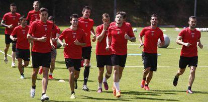 Los jugadores del Girona, durante una sesión de esta semana.
