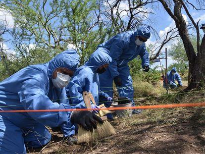 Peritos de la Fiscalía General de Justicia trabajan fosa donde fueron hallados los restos de los yaquis desaparecidos en el municipio de Cajeme, Sonora.