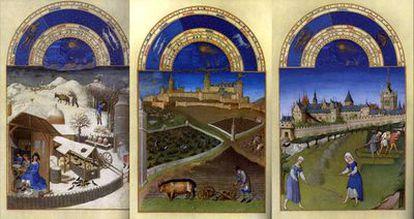 Imágenes del libro de horas <i>Las muy ricas horas del Duque de Berry</i>, un manuscrito iluminado del siglo XV.