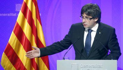 El president Carles Puigdmont en una rueda de prensa este viernes.