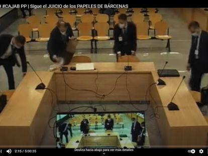 Declaraciones de policías en el juicio en la Audiencia Nacional en San Fernando de Henares por los 'papeles de Bárcenas' (captura de la señal de televisión de la AN).