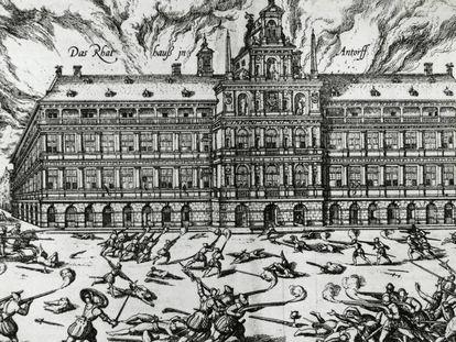 El Ayuntamiento de Amberes durante el saqueo de 1576.