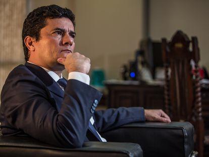 El exministro de Justicia de Brasil, Sergio Moro, en una entrevista el 31 de marzo, en Brasilia.
