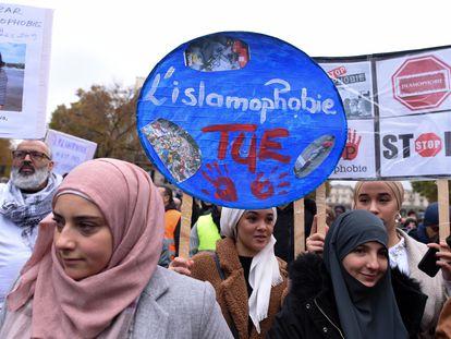 Marcha contra la islamofobia en París (Francia), en noviembre de 2019.