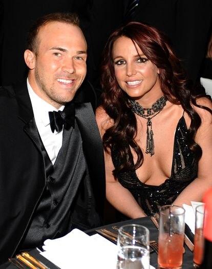 Britney Spears y David Lucado, en la gala contra el sida de Elton John en 2014.