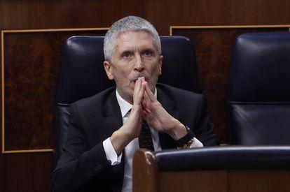 El ministro del Interior, Fernando Grande-Marlaska, durante el pleno del Congreso de este miércoles.