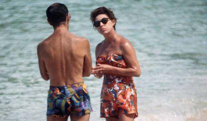 La princesa Margarita, en una playa de Mustique en 1976.