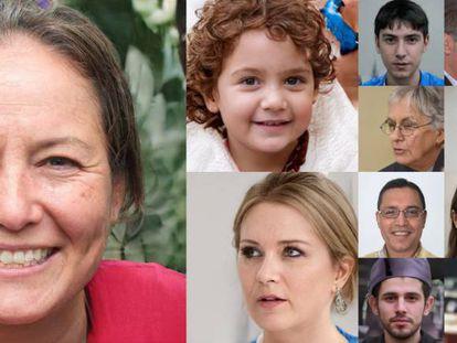 Todas las caras que se ven en esta foto son falsas; han sido generadas por el algoritmo StyleGAN.