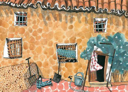 Una de las ilustraciones del libro 'Cosas nuestras', en el que Ilu Ros homenajea a nuestros mayores.