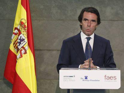 José María Aznar, en un acto copatrocinado por FAES, en mayo pasado.