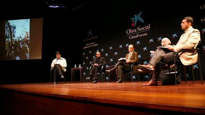 De izquierda a derecha, Hafid Aarab, Basel Ramsis, Ignacio Cembrero, Sirin Adlbi y Rachid Aarab.