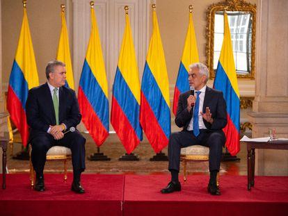 El presidente de Colombia, Iván Duque, y su ministro de Ambiente, Ricardo Lozano, durante la celebración del Día Mundial del Medio Ambiente.