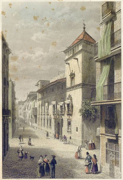 La desaparecida casa Gralla, en un aguafuerte de 1842 de Antoni Roca.