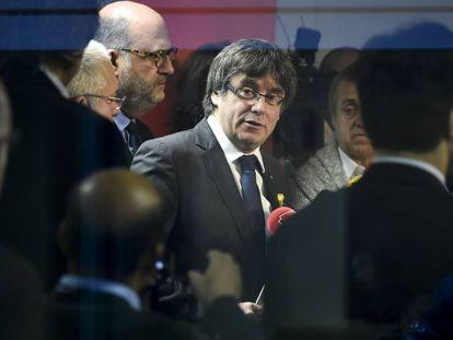Carles Puigdemont, el día 22, en una rueda de prensa en Bruselas.
