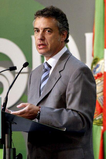 Iñigo Urkullu, durante la rueda de prensa que ha ofrecido esta tarde en Bilbao para valorar el comunicado de ETA.