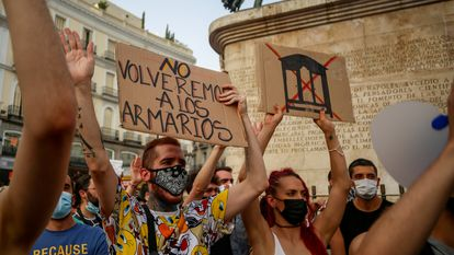 Manifestación contra la homofobia el pasado 11 de julio en la Puerta del Sol, en Madrid.